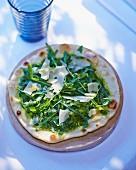 A rocket pesto and rocket pizza