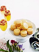 Chocolate and passion fruit macaroons and bellinis