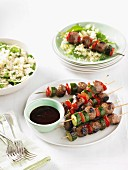 Beef skewers with couscous