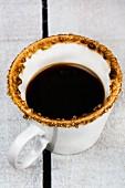 An espresso with a sugared edge