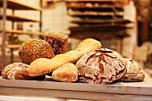 Freshly baked bread in a bakery