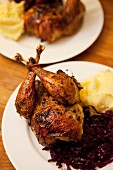 Roast pheasant with red cabbage and mashed potato