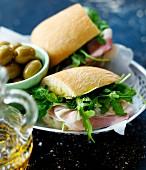 Ham and rocket sandwich