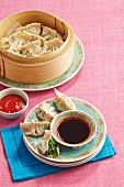 Snowpea and spinach dumplings