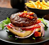 Beef burger with sweet pepper relish