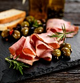 Italian veneto rosemary ham with olives and bread
