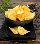 handmade beef and peppercorn potato crisps
