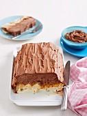 Chocolate ice cream cake with caramel and nougat