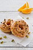 Donuts with Orange Glaze and Pistachios