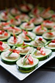 Cucumber Appetizers with Vegetable Mousse, Sliced Scallions and Tomatoes