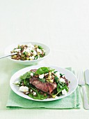 Indian spiced lamb chops with lentils