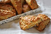 Freshly baked cheddar chive scones