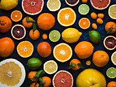 Overhead of cut and whole grapefruits, oranges, lemons, limes and kumquats on a dark blue material filling the frame