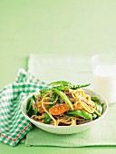 Pork and snow pea noodles