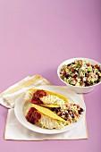 Fish tacos with avocado rice