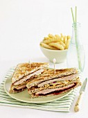 Triple-decker pork and slaw sandwich