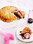 Cherry Pithiviers (puff pastry cake with an almond and cherry filling, France)