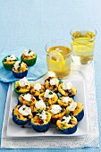 Mini omelettes with vegetables and feta cream