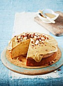 A sponge cake with caramel icing