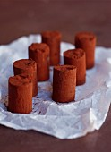 Chocolate rolls dusted with cocoa powder on a piece of wrinkled paper