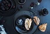 Frische Austern und Brombeeren