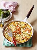 A mincemeat, mushroom, tomato and feta frittata