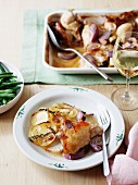 Oven-baked chicken pieces in an apple and mustard sauce with potato gratin