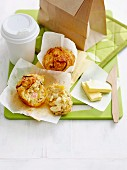 Spicy muffins with sweetcorn and ham for breakfast on the go
