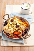 Pancakes with summer vegetables and feta