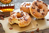 Glazed doughnuts with bacon bits