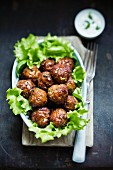 Meatballs with a yogurt dip