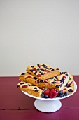 Berry frittata on a cake stand