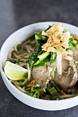 Noodle soup with pork and vegetables