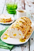 Mango and passion fruit Swiss roll