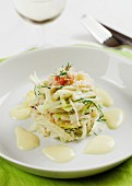 Kohlrabi salad with crab, apple and mayonnaise