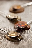Four types of honey on spoons