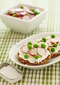 Rye bread topped with ricotta cheese, peas, radishes and pepper