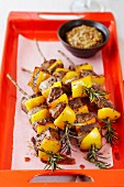 Rosemary skewers with beef and peppers