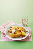 Beer-battered fish with chips
