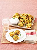 Indian fritters with a yogurt and mint sauce