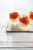 Gazpacho over crushed ice in glasses
