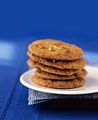 A stack of pecan nut cookies