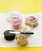 Cremefüllungen für Sandwich Cookies (Minze, Schokolade, Himbeere, Kaffee, Erdnussbutter)
