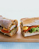 Baguette sandwich with battered fish