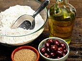 Ingredients for foccacia with olives