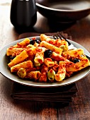 Rigatoni with green and black olives