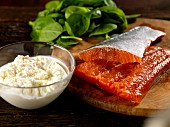 Ingredients for trout fillets with ricotta and spinach