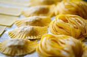 Homemade tagliatelle and ravioli