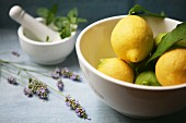 A bowl of fresh lemons