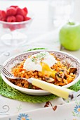 Farro with mushrooms, carrot and poached egg